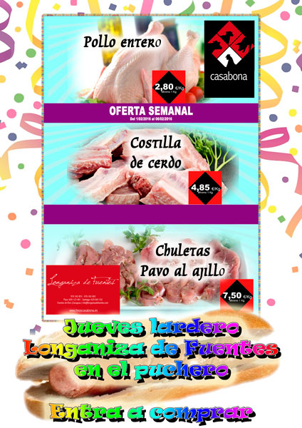 Carnicería Hermanos Casabona - Pollo entero, costillas de cerdo y pavo al ajillo - Oferta Carnicería - semana 05.2016